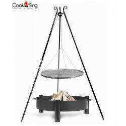 Grill ogrodowy CookKing na trójnogu 180 cm, stalowy ruszt 80 cm + palenisko Haiti 80 cm