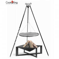 Grill ogrodowy CookKing na trójnogu 180 cm, stalowy ruszt 50 cm + palenisko Cuba 70x70 cm