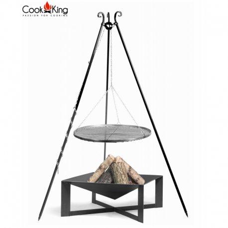 Grill ogrodowy CookKing na trójnogu 180 cm, stalowy ruszt 70 cm + palenisko Cuba 70x70 cm
