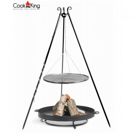 Grill ogrodowy CookKing na trójnogu 180 cm, stalowy ruszt 60 cm + palenisko Malta 70 cm