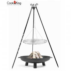 Grill ogrodowy CookKing na trójnogu 180 cm, nierdzewny ruszt 70 cm + palenisko Bali 80 cm