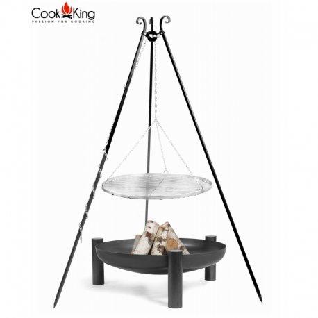 Grill ogrodowy CookKing na trójnogu 180 cm, nierdzewny ruszt 70 cm + palenisko Palma 80 cm
