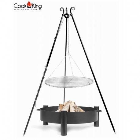 Grill ogrodowy CookKing na trójnogu 180 cm, nierdzewny ruszt 50 cm + palenisko Haiti 60 cm