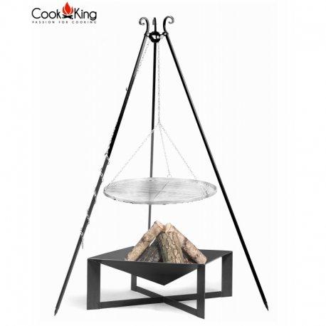 Grill ogrodowy CookKing na trójnogu 180 cm, nierdzewny ruszt 70 cm + palenisko Cuba 70 x 70 cm
