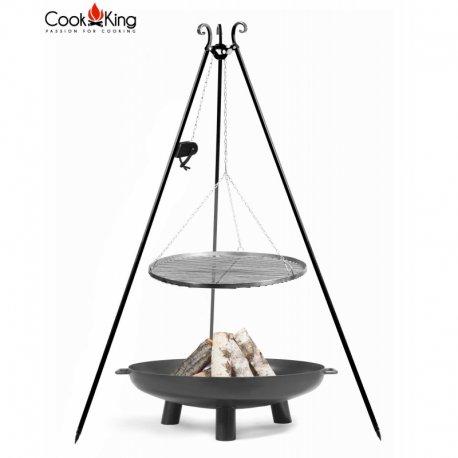 Grill ogrodowy CookKing z kołowrotkiem na trójnogu 180 cm, stalowy ruszt 60 cm + palenisko Bali 70 cm