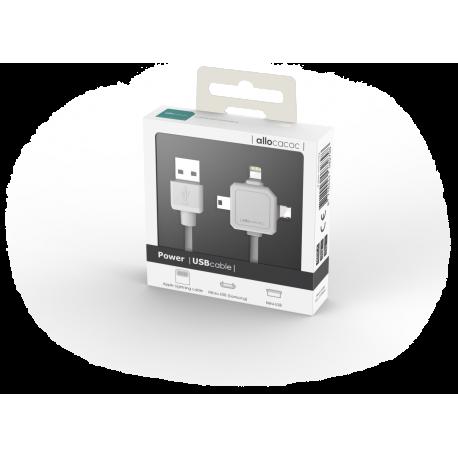 Przewód do ładowania USBcable 3 w 1 - kompatybilny z Apple Lightning, Micro USB i Mini USB