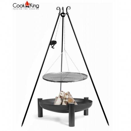 Grill ogrodowy CookKing z kołowrotkiem na trójnogu 180 cm, stalowy ruszt 60 cm + palenisko Palma 70 cm