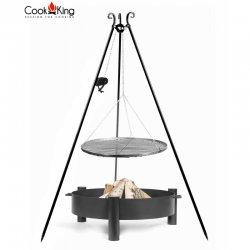 Grill ogrodowy CookKing z kołowrotkiem na trójnogu 180 cm, stalowy ruszt 70 cm + palenisko Haiti 80 cm